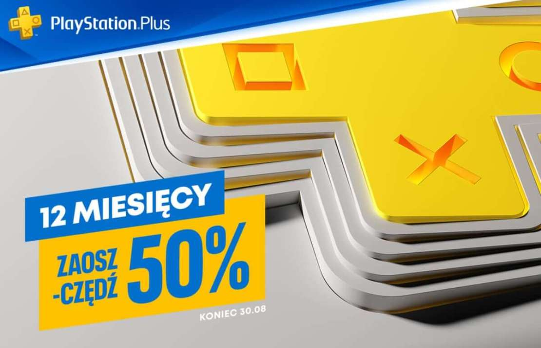 Promocja 50% na 12-miesięczną subskrypcję PlayStation Plus (do 30 sierpnia 2021 r.)