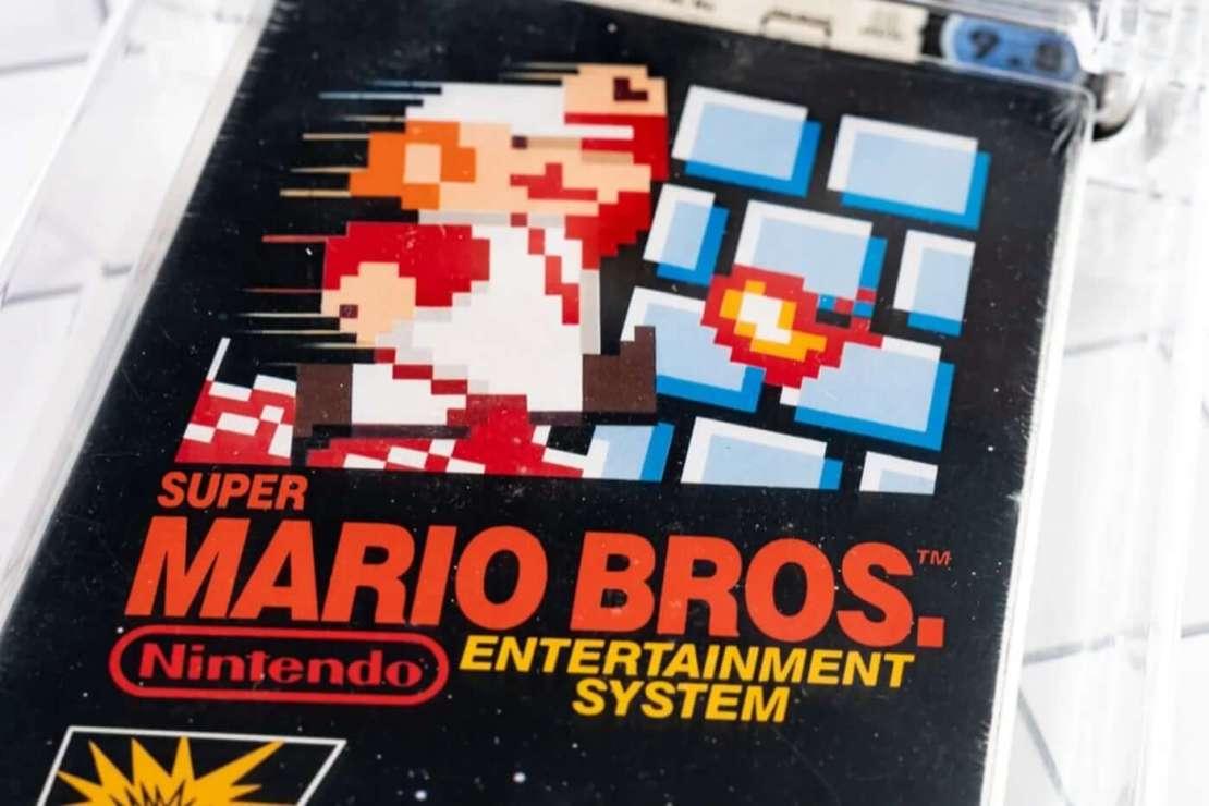 Oryginalnie zapakowany egzemplarz gry Super Mario Bros. (Rally)