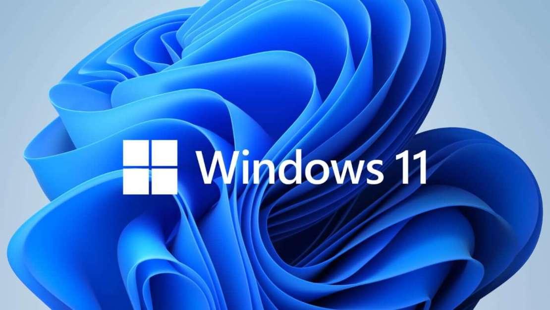 Windows 11 logo na tle niebieskiej grafiki