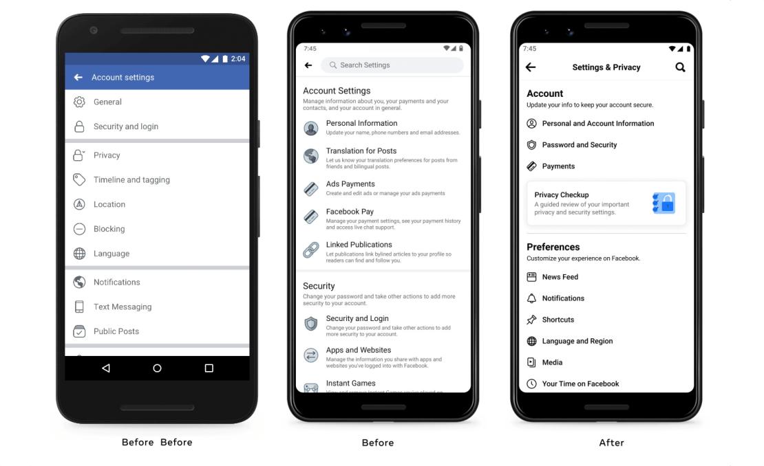 Zmienione menu Ustawienia Facebooka na mobile'u (sierpień 2021)