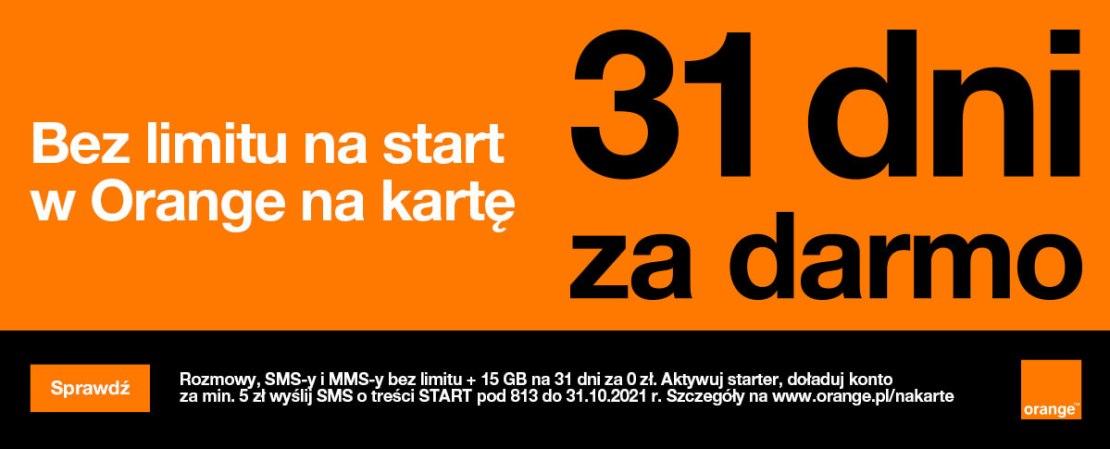 Promocja doładowań 31 dni za darmo w Orange na kartę