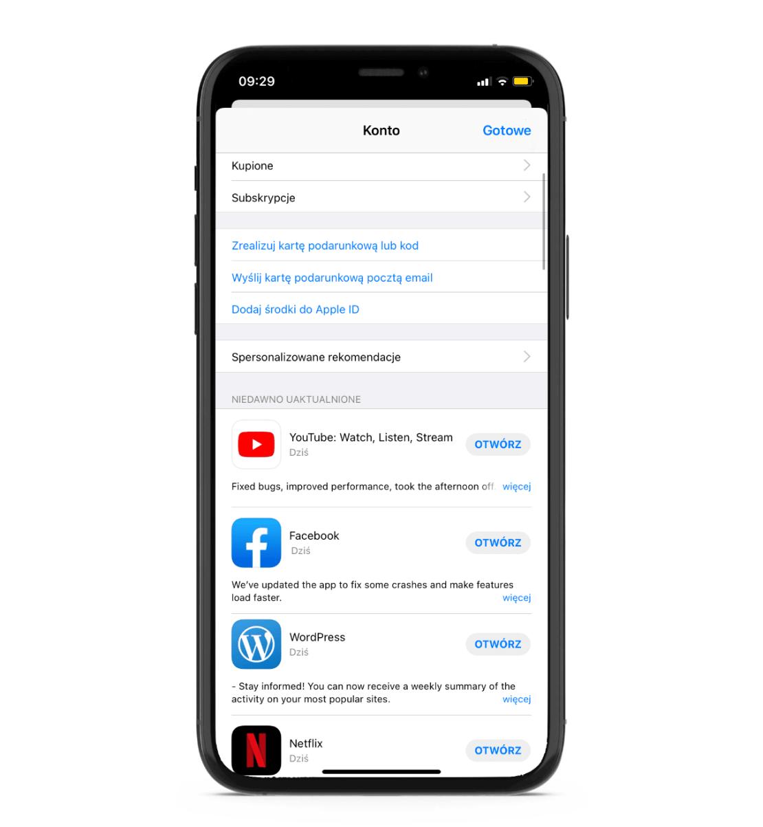 Aktualizacja aplikacji w sklepie App Store