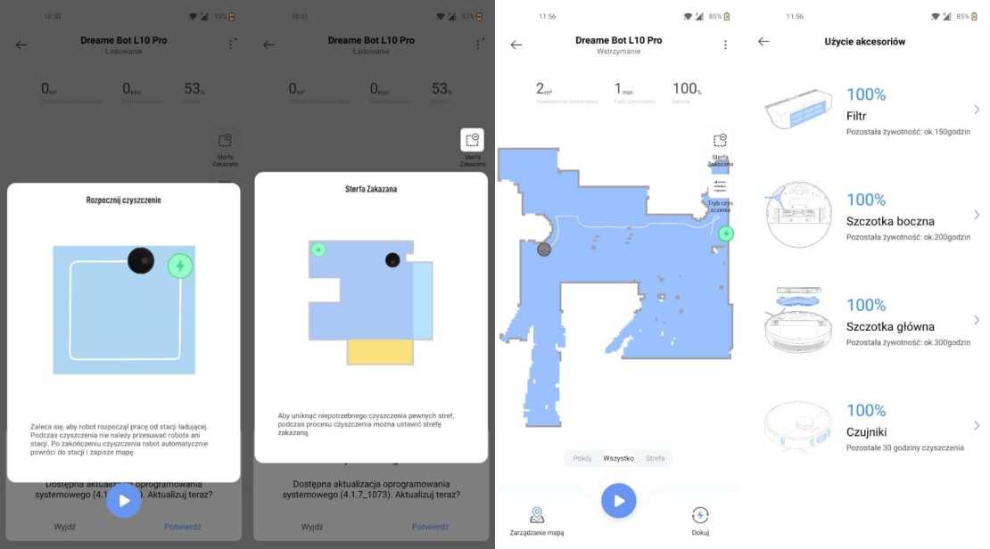 Zrzuty ekranów z aplikacji Mi Home