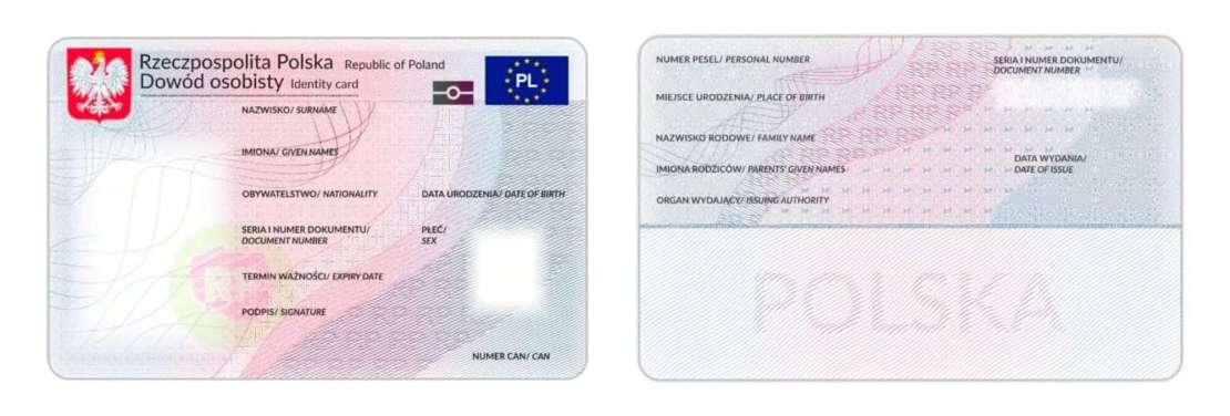 Awers i rewers dowodu osobistego wydawanego w Polsce po 8 listopada 2021 r.