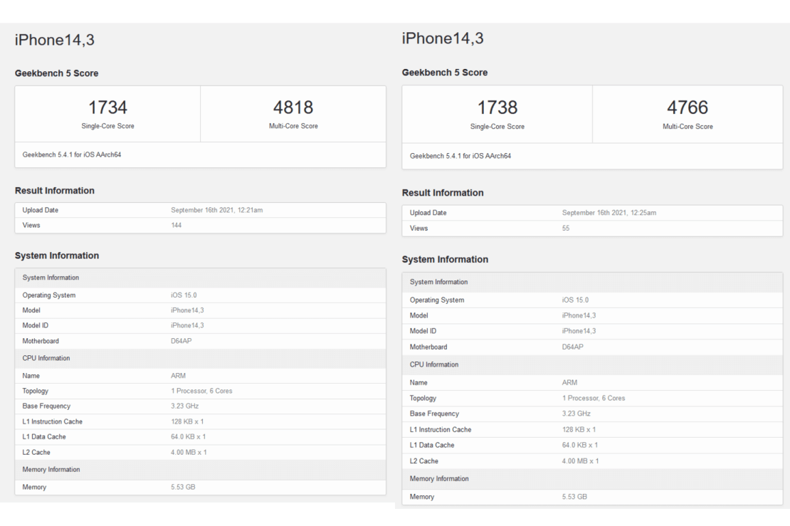 geekbench Score iPhone 13