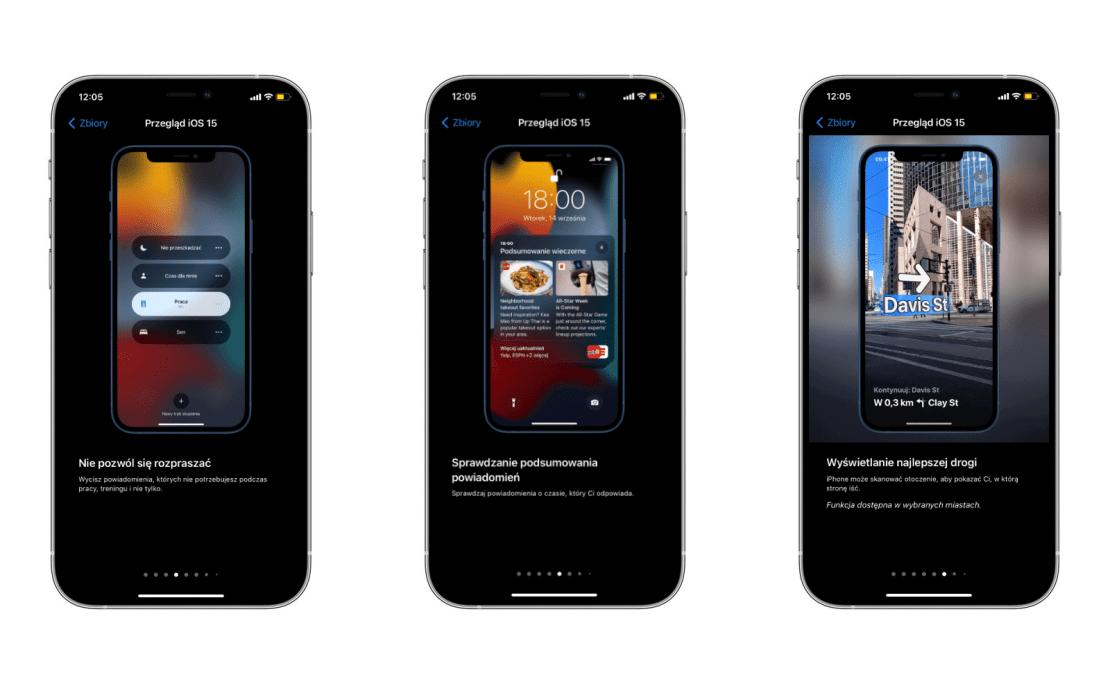 Informacje o iOS 15 w aplikacji Porady (Tips) firmy Apple