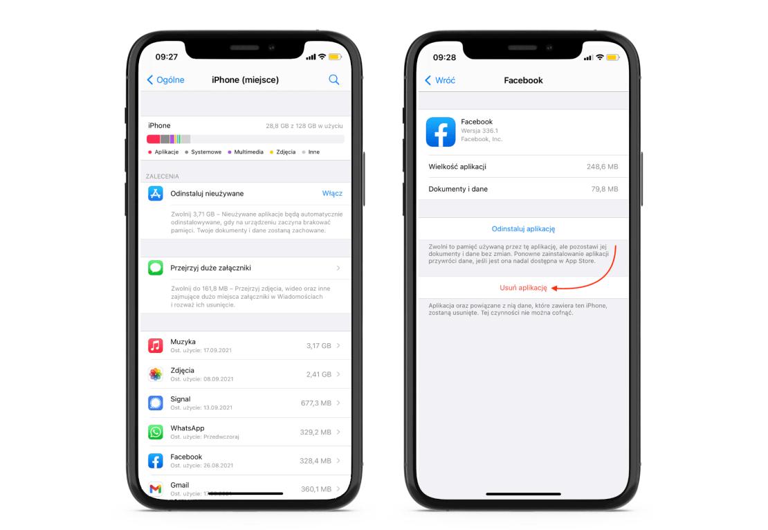 Usuwanie aplikacji na iPhonie - zwalnianie miejsca