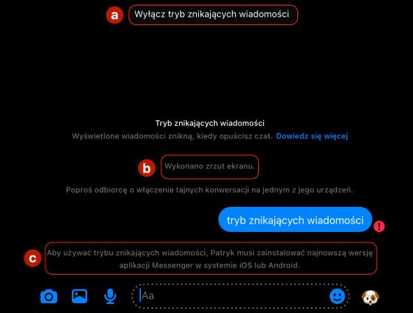 Okno rozmowy w trybie znikających wiadomości na Messengerze