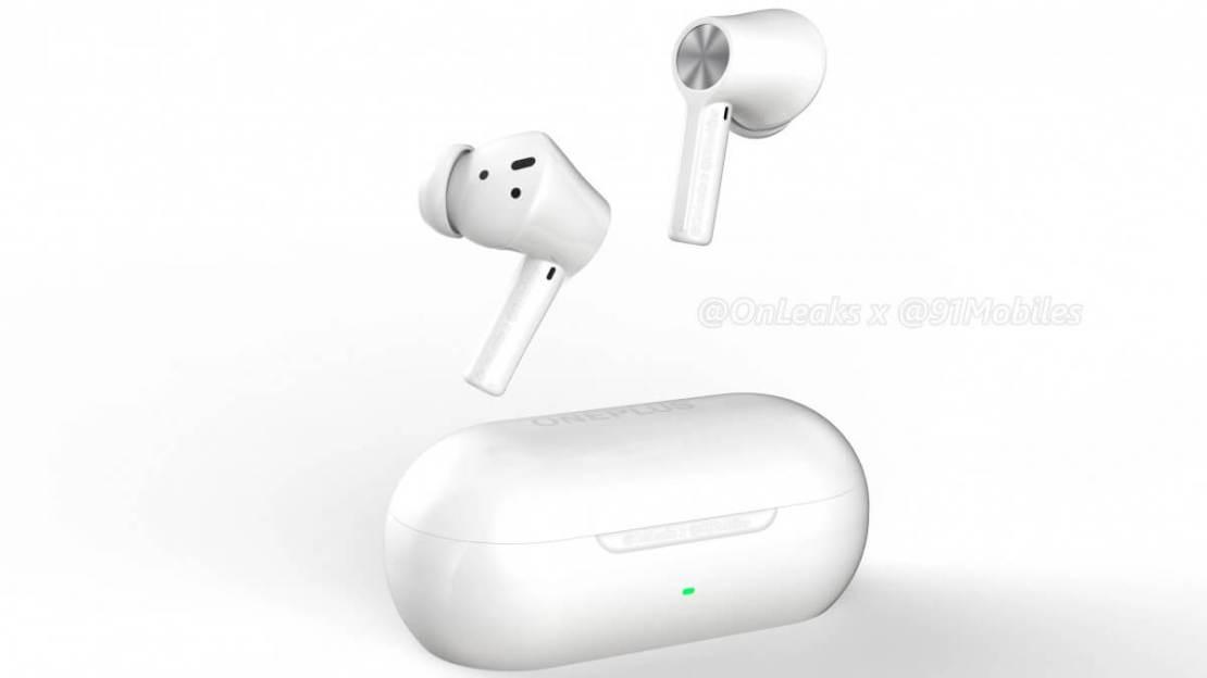Render słuchawek dousznych OnePlus Buds Z2 i etui ładującego