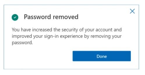 Potwierdzenie usunięcia hasła z konta Microsoft
