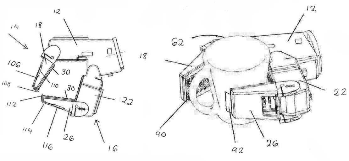 Rysunek ze zgłoszenia patentowego firmy Dyson przedstawia rękę robota trzymającą kubek
