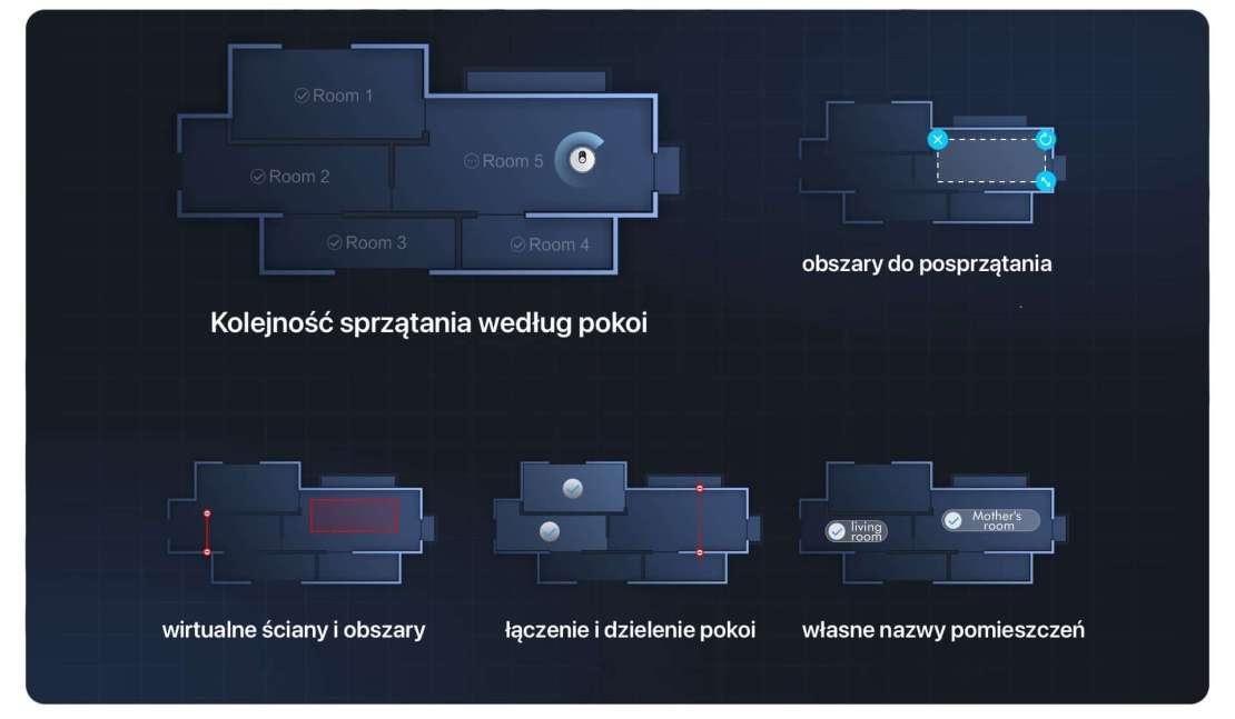 Opcje map odkurzacza Roidmi Eve Plus