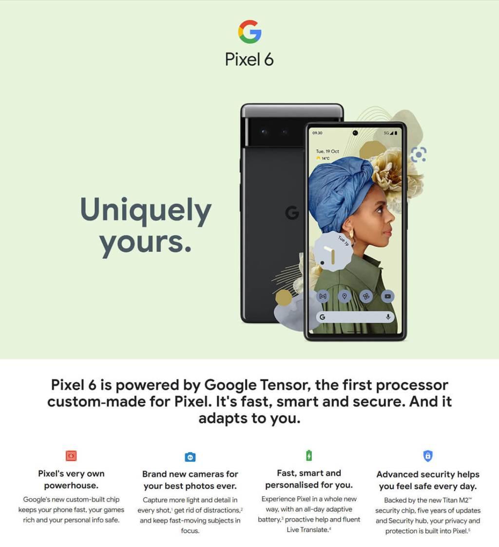 Zrzut ekranu ze strony na temat Pixel 6