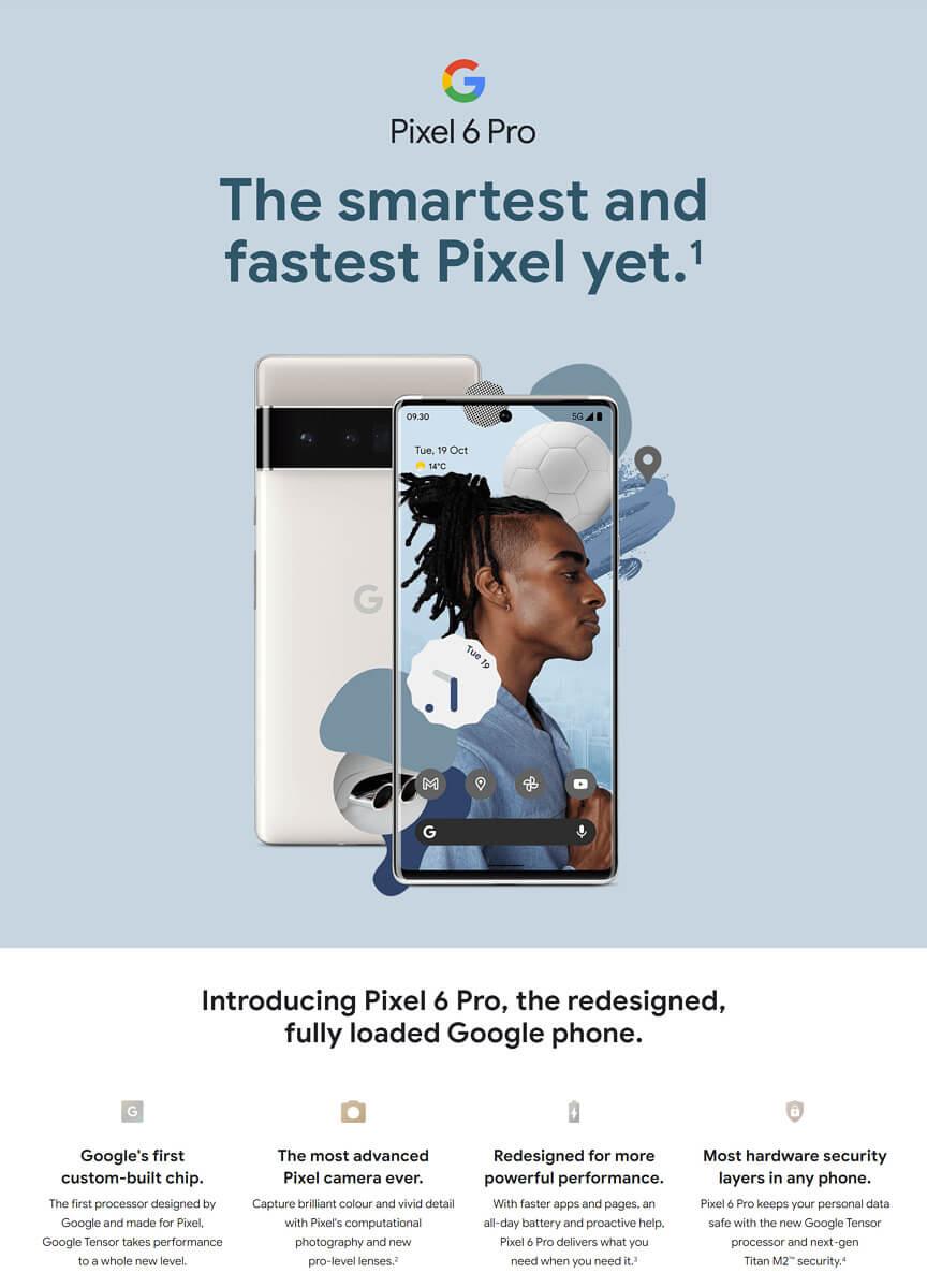 Zrzut ekranu ze strony na temat Pixel 6 Pro