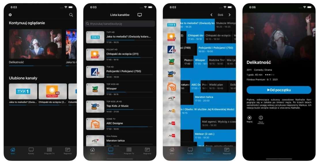 Zrzuty ekranów z aplikacji mobilnej Televio
