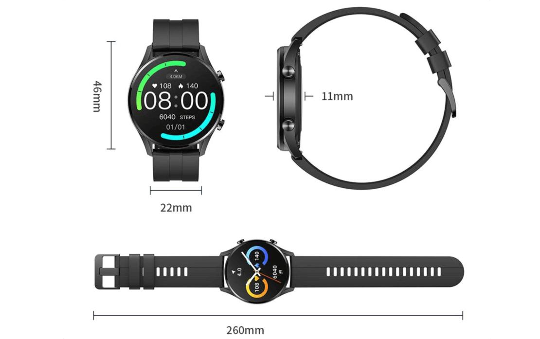 Wymiary zegarka IMILAB W12