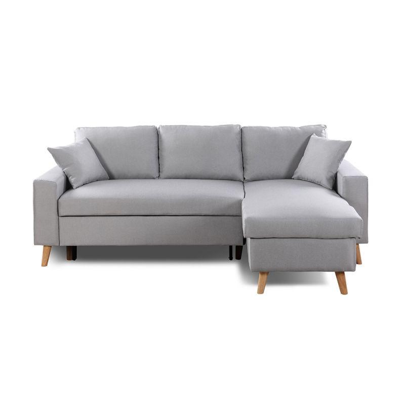 canape d angle scandinave reversible convertible avec coffre gris clair pas cher meuble a petit prix