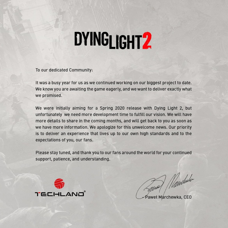 Dying liight 2 comunicado