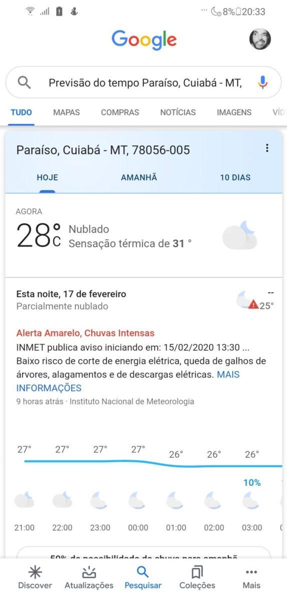 previsão do tempo google app