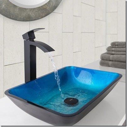 Turquoise rectangular sink