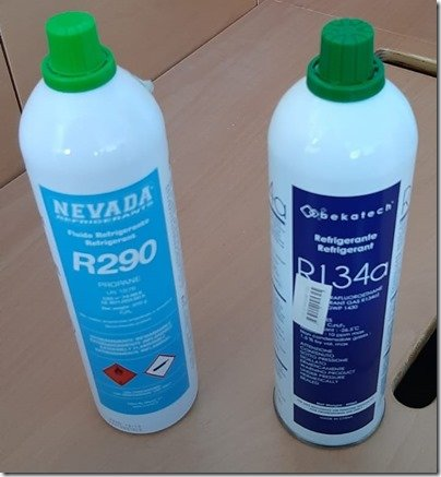 R290   R132A bottles of refrigerant