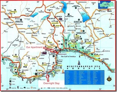 antalya-province map of overnight getaway Sept 26 2020