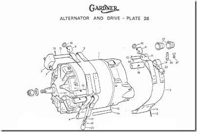 Gardner 6LXB CLOSEUP alternator strap mount exploded diagram