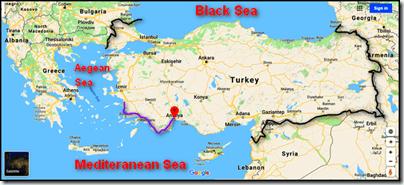 Turkish Turquoise Coast map