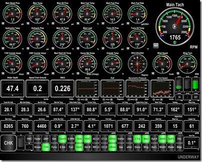 Maretron N2KView screen on mv Dirona