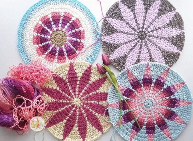 Four different tapestry crochet motifs