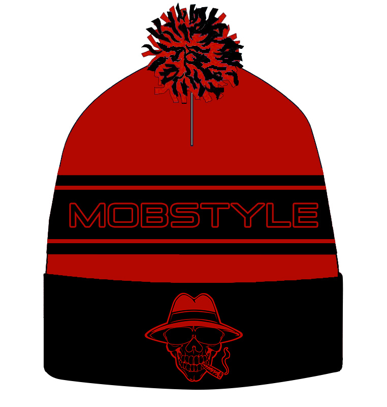 Mobstyle Knitted Puff Ball Hat (RED) (pre-order)