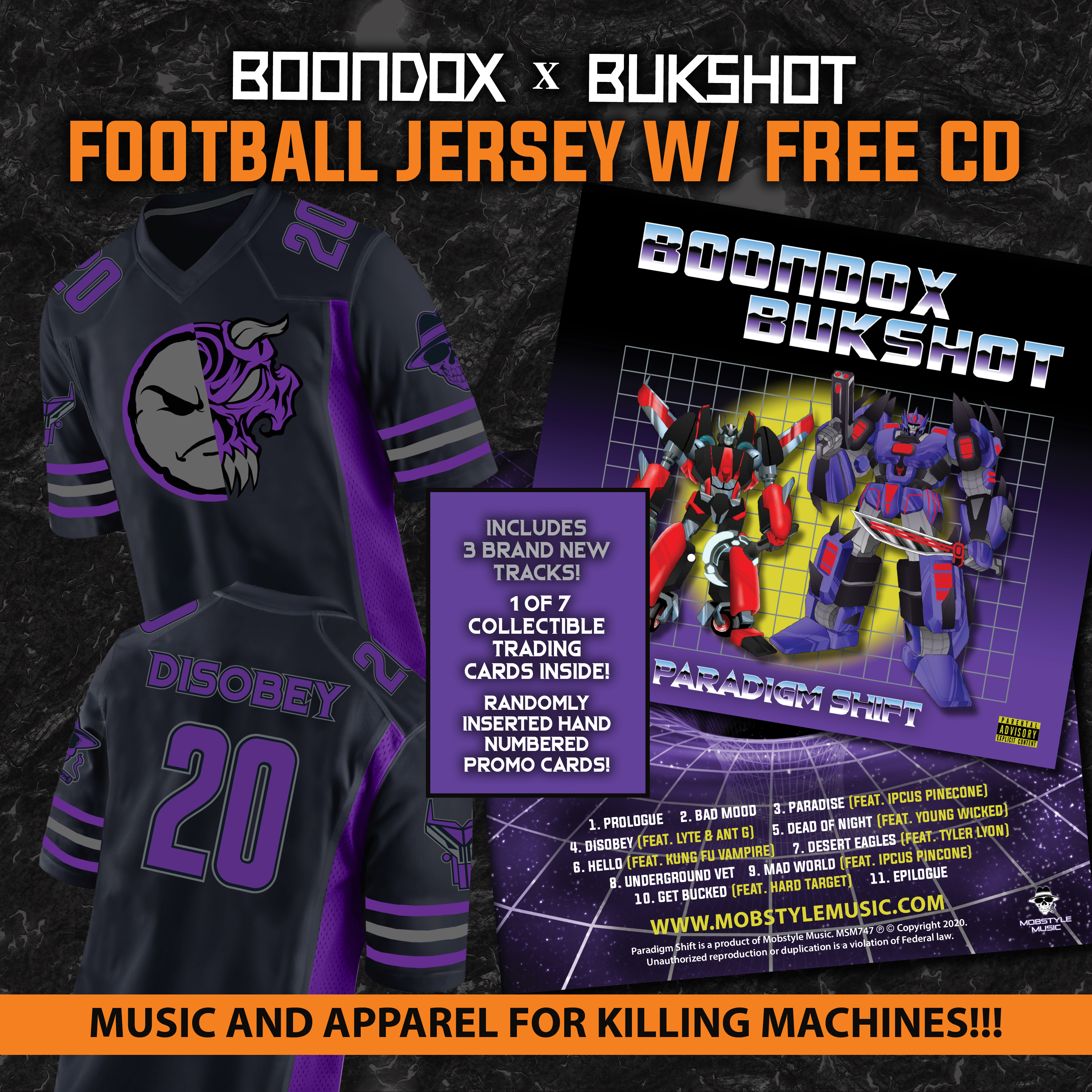 "DISOBEY Football Jersey + Boondox & Bukshot ""Paradigm Shift"" CD!"