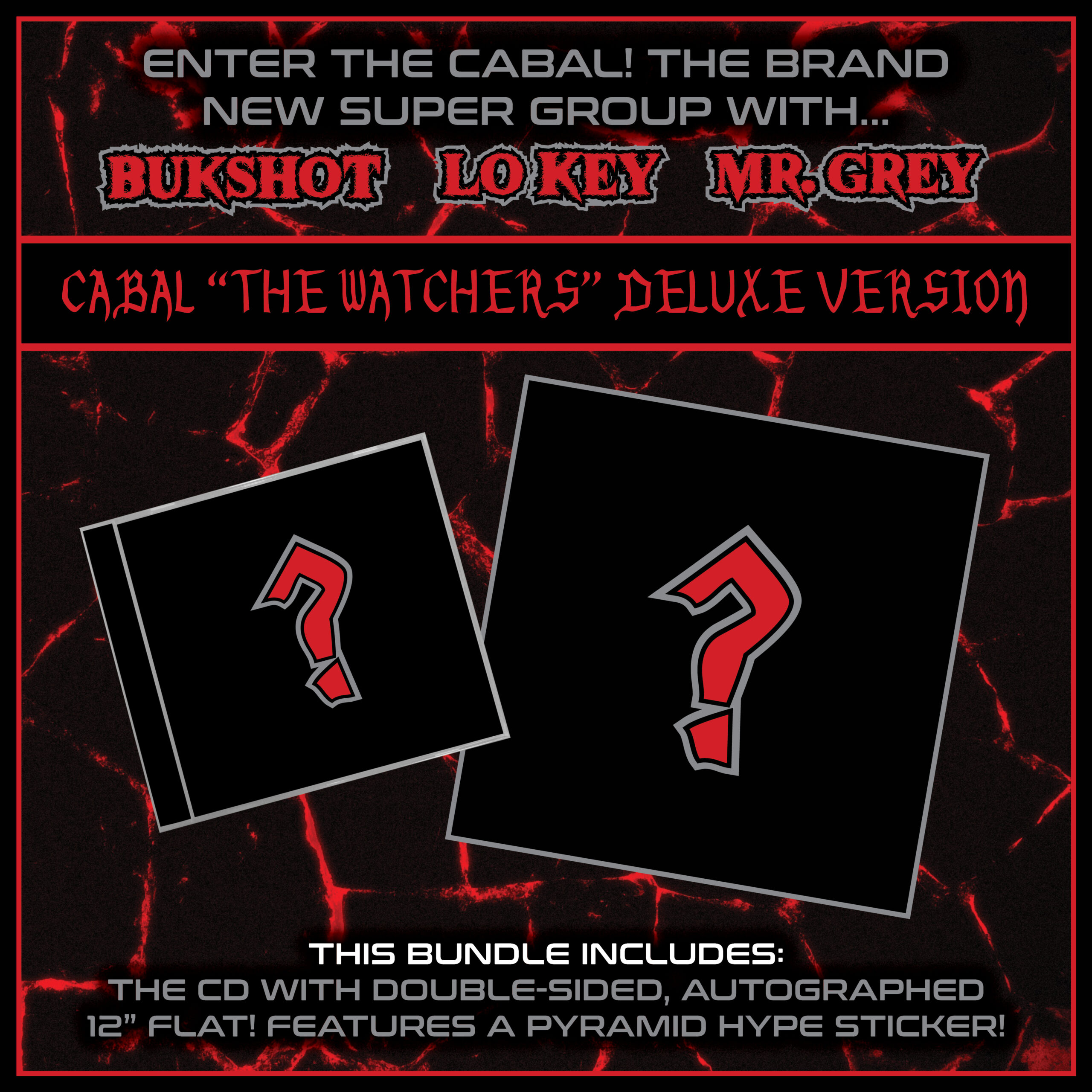 """Cabal (Bukshot, Lo Key, Mr. Grey) """"The Watchers"""" Deluxe Version CD + 12"""" Autographed Flat! [PRE-ORDER]"""