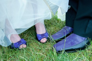 Bride & Groom in Matching Purple