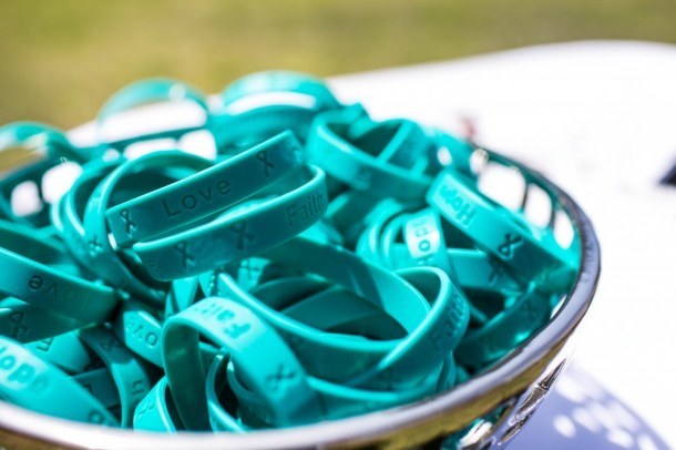 Teal bracelets to represent Ovarian Cancer