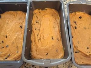 pumpkin bread batter in pans