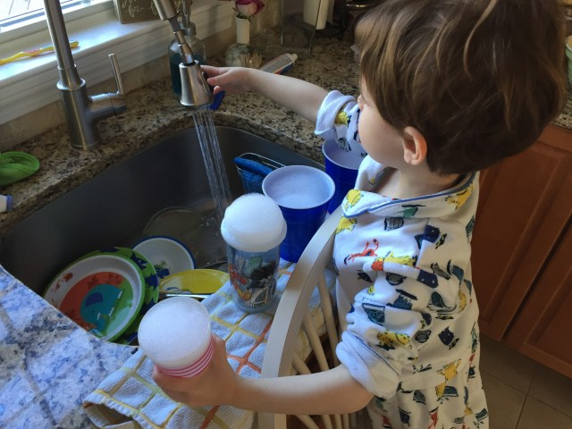 Great sensory play in the kitchen sink