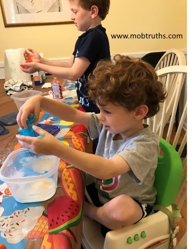 Slime is great for sensory play and sharing in kids.