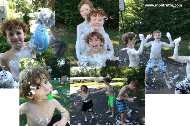 Messy fun with shaving cream! The most awesome summer day, without even leaving your front yard.