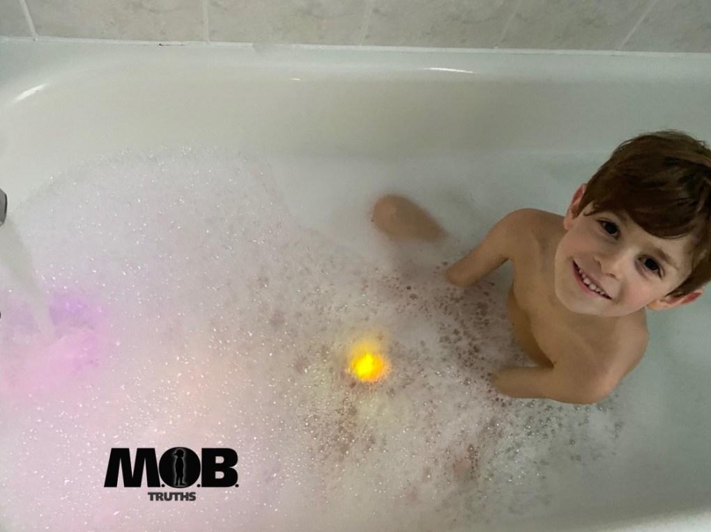 glow stick bubble bath for fun