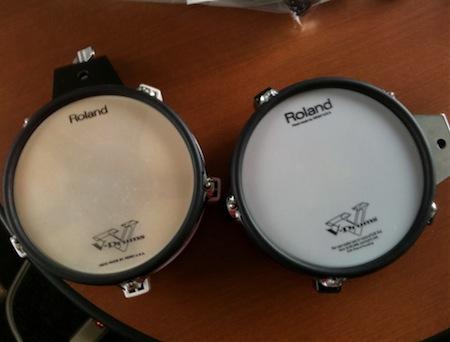 電子ドラムのスネアとハイハットを上等のに付け替えた。