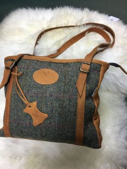 Scottish Deerskin/Harris Tweed handbag