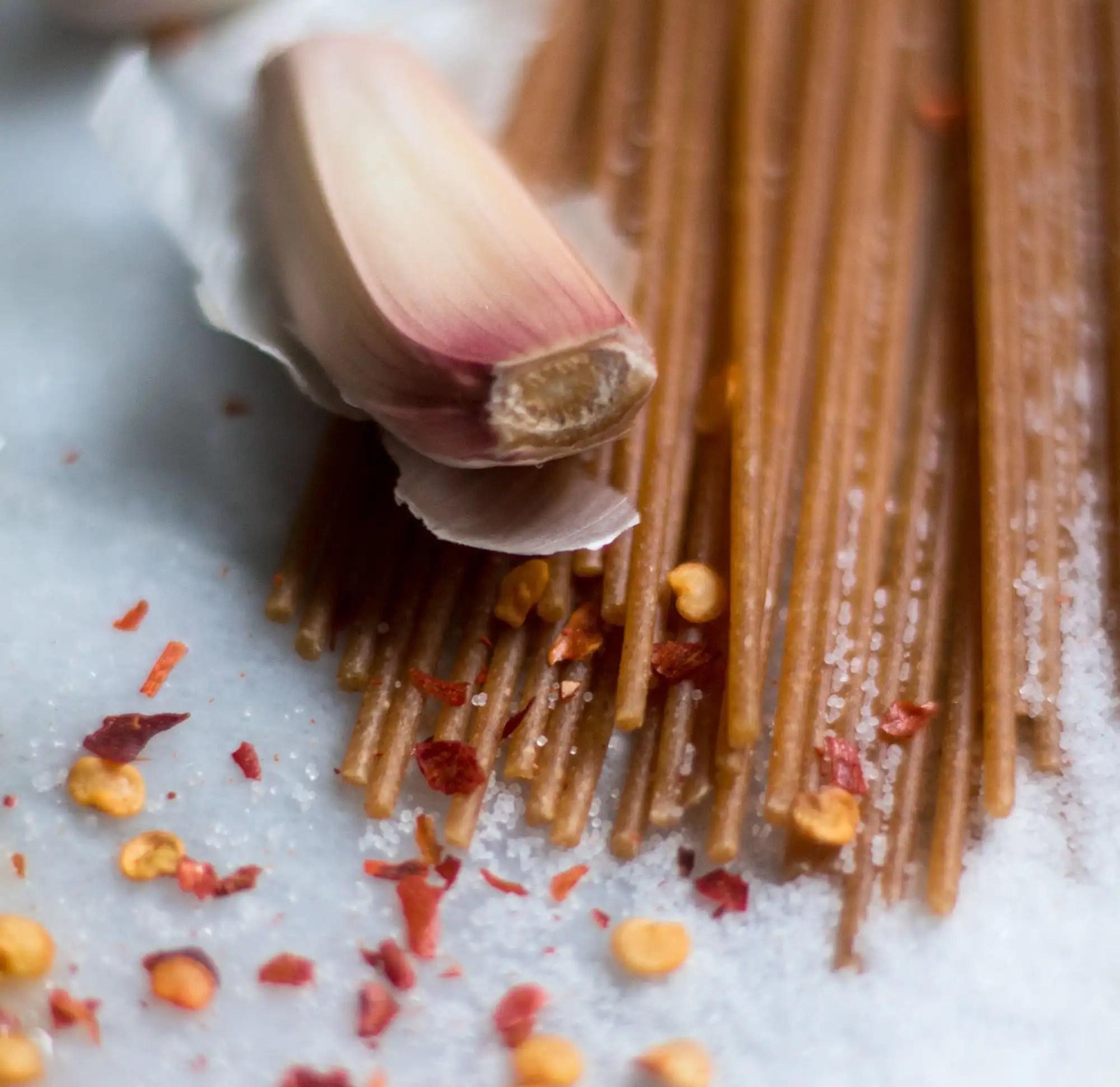 garlic, red pepper flakes, whole wheat spaghetti
