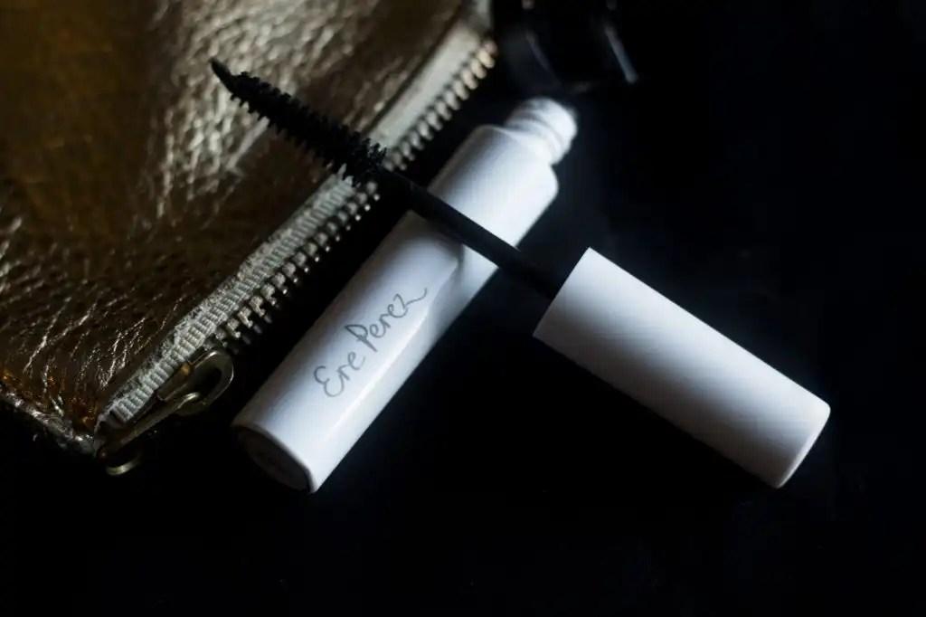 Women-owned beauty brand Ere Perez Waterproof Mascara Tube on black background