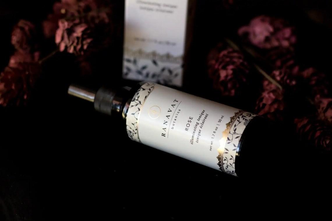 Black glass bottle of Ranavat Botanics Rose Tonique