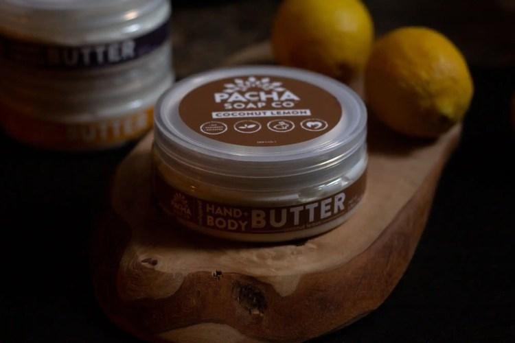 Pacha Soap Body Butter on wooden board