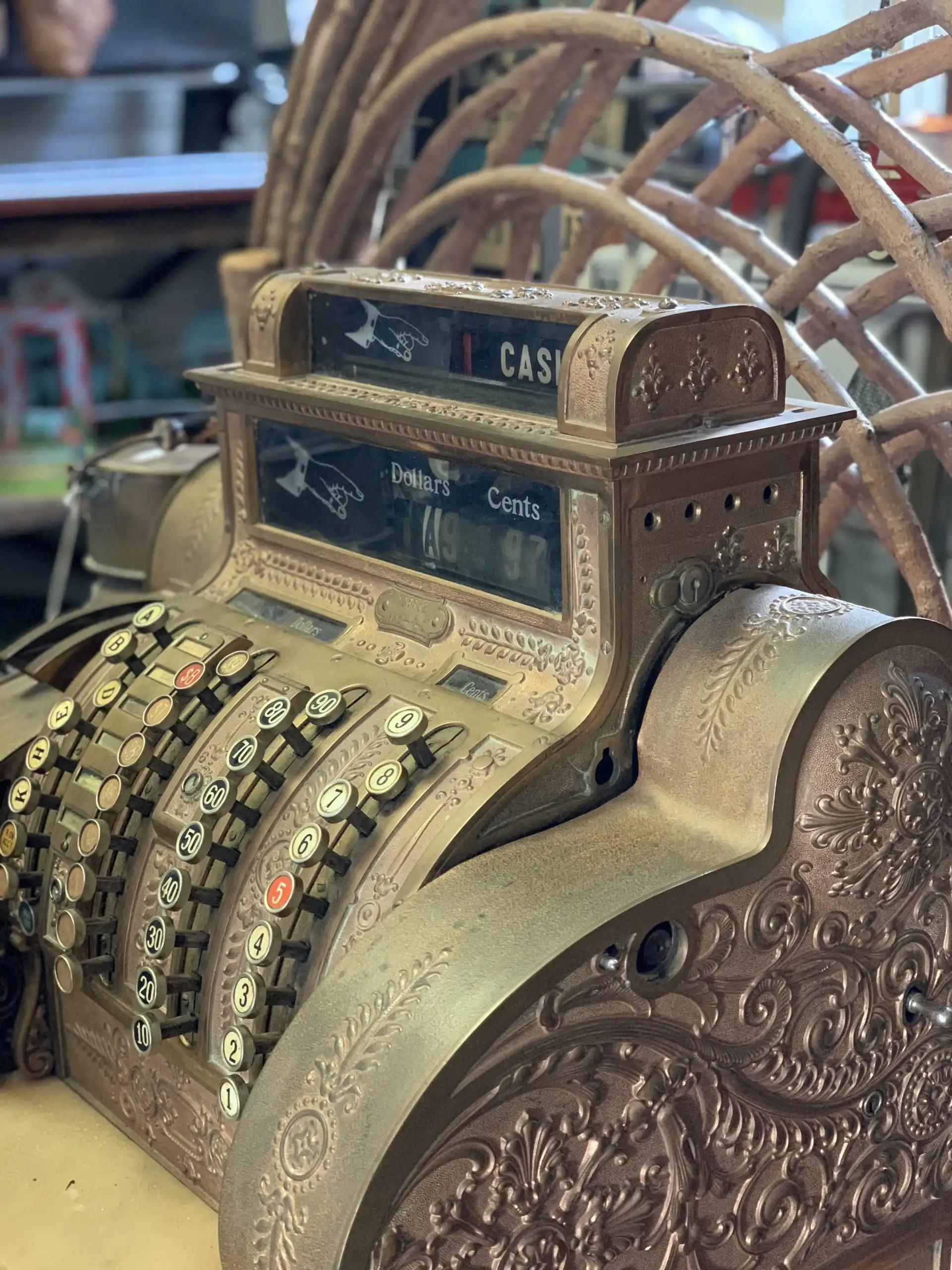 iPhone XS Max photography example: antique bronze cash register