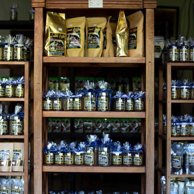 Expositor de café en Indonesia