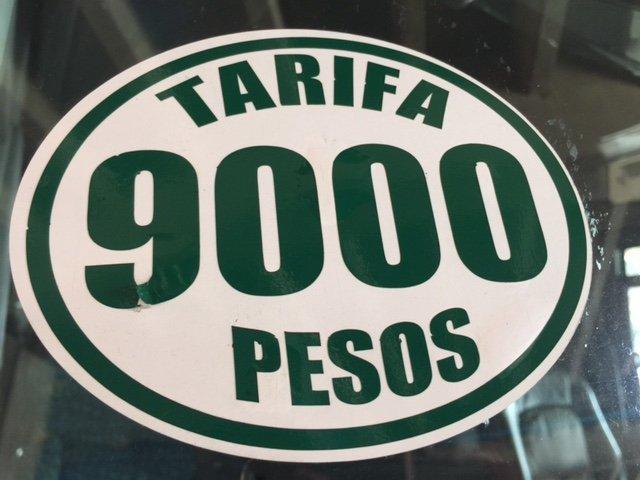 Tarifa 9000 pesos autobús al aeropuerto de Medellin