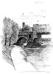 Roma・テヴェレ河とロット橋 / 画 望月麻里 illustrated by (C) Mari Mochizuki.